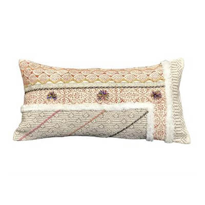 Block Printed Cushion Cover with Tufting