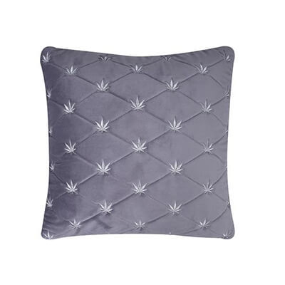 16x16 quilted grey velvet cushion cover with hand embroidery buttis 1