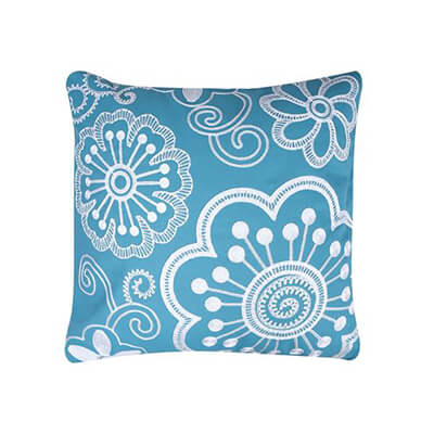 16x16 teal and white hand embroidered cushion cover 1