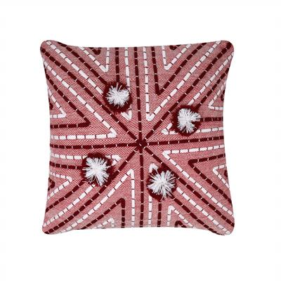 18x18 vintage red geometrical stripes cushion cover 1