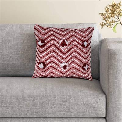 18x18 vintage red zigzag stripes cushion cover 1 2