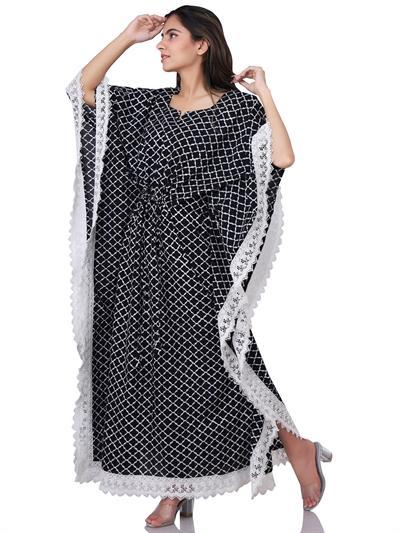 black and white block printed jaal long kaftan 1