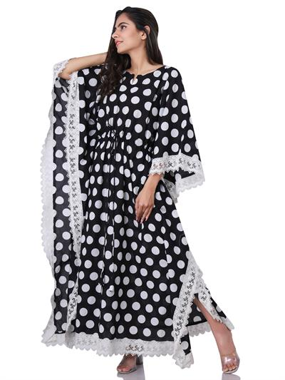 black and white polka dots long kaftan with french lace 1