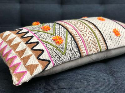 12x24 boho block printed cushion cover with pom poms 5