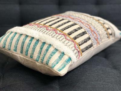 Boho Block Printed Cushion Cover with Thread