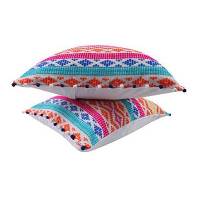 Multi-color Cushion Cover with Pom Pom