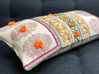Floral Block Printed Cushion Cover