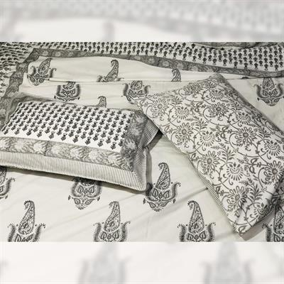 indian hand block printed cotton duvet cover with ethnic butta motifs 1