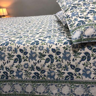 floral jaal block printed bedsheet