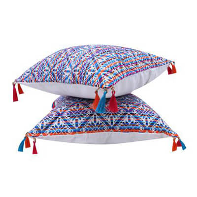 Multicolored Cushion cover with Tassels