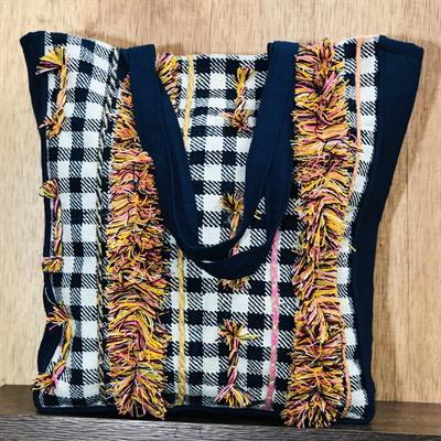 navy blue vintage checks shoulder bag with hand embroidery 2