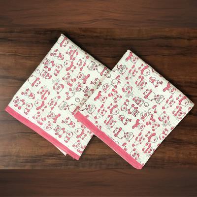 set of 2 hand block printed waffle kids bath towels