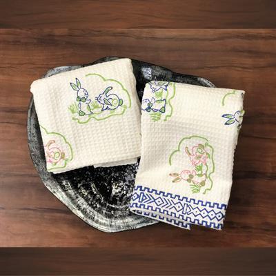 set of 2 hand block printed rabbit kids bath towels