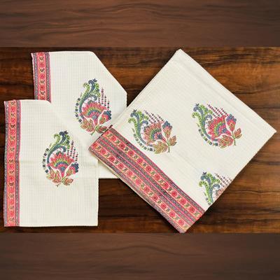 set of 4 floral block printed waffle bath towels
