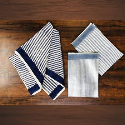 set of 4 geometric stripes hand block printed waffle tea towels 1