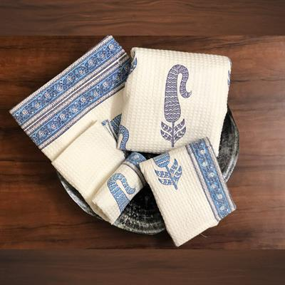 set of 4 hand block printed waffle bath towels