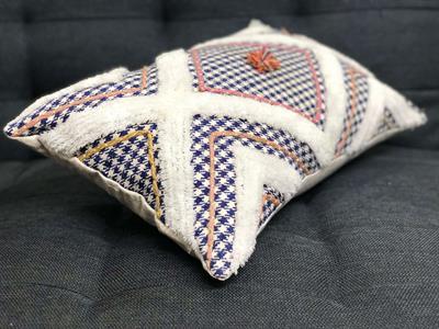 Vintage Blue Checks Cushion Cover